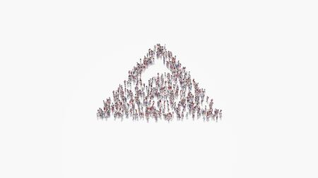 3d rendering of crowd of different people in shape of symbol of triangle mountain with snow peak on white background isolated