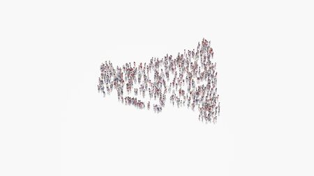 3d rendering of crowd of different people in shape of symbol of old megaphone with handle on white background isolated