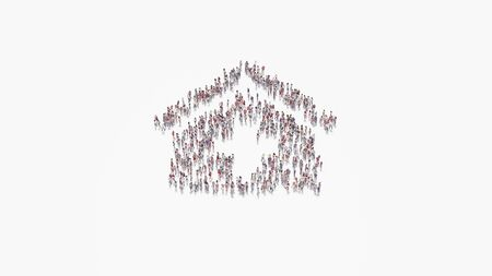 3d rendering of crowd of different people in shape of symbol of clinic medical on white background isolated Stock fotó