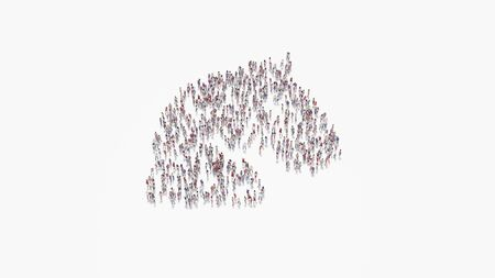 3d rendering of crowd of different people in shape of symbol of horse head on white background isolated