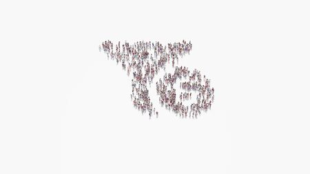 3d rendering of crowd of different people in shape of symbol of funnel and dollar coin on white background isolated