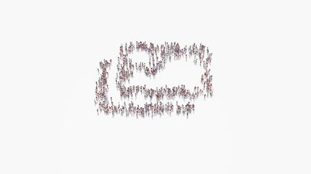 3d rendering of crowd of different people in shape of symbol of two pictures with landscape on white background isolated