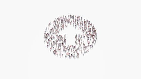3d rendering of crowd of different people in shape of symbol of close up rounded arrow in circle on white background isolated Zdjęcie Seryjne