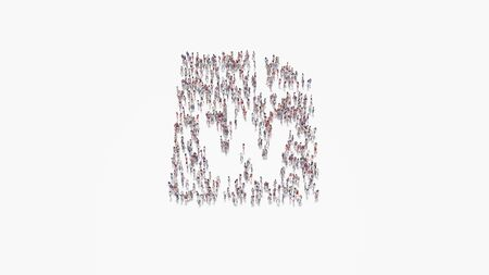 3d rendering of crowd of different people in shape of symbol of paper with bent corner and w letter on white background isolated