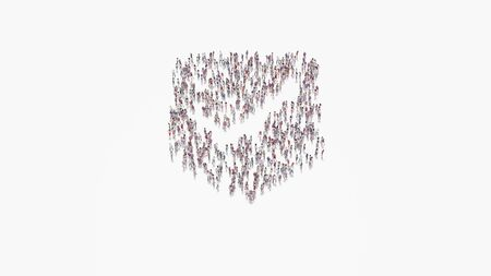 3d rendering of crowd of different people in shape of symbol of been here marker with ok sign on white background isolated