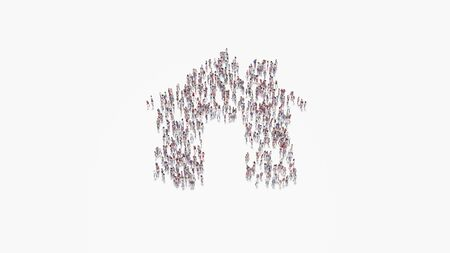 3d rendering of crowd of different people in shape of symbol of home with big door and chimney on white background isolated