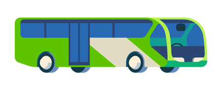 conductors: Flat color illustration of bus in geometric projection