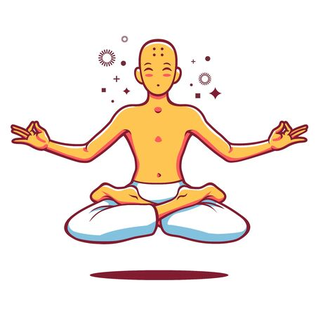 composure: Cartoon illustration of seated monk in lotus position.