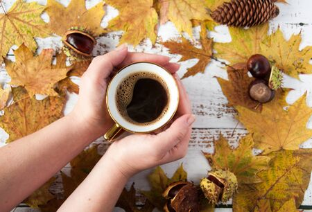 Autumn mood. Yellow, orange maple leaves on a wooden background and a cup of coffee in the hands. A lot of dry leaves and chestnuts, a hot drink, comfort. Natural materials