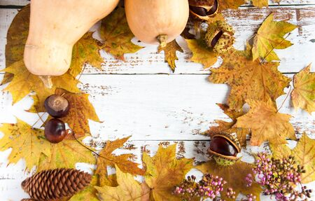 Autumn mood. Yellow, orange maple leaves on a wooden background, pumpkins. A lot of dry leaves and chestnuts, a hot drink, comfort. Natural materials Stok Fotoğraf