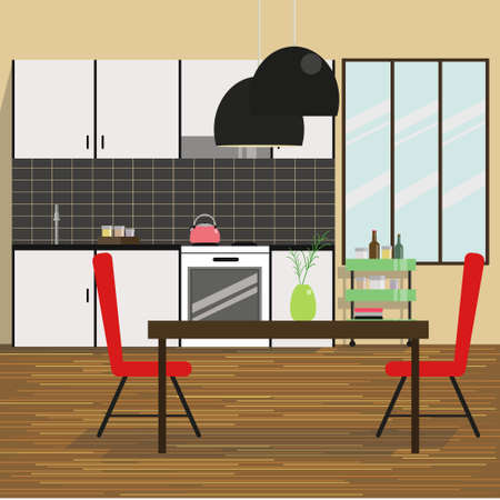 dinning table: Kitchen Interior.Modern Kitchen Interior with White Kitchen Set, Dinning Table, Red Chairs, Lamp and Wooden Floor.