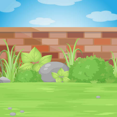 garden wall: Backyard Garden With Bricks Wall, Various Plants and Blue Sky With Clouds.Vector Illustration. Illustration