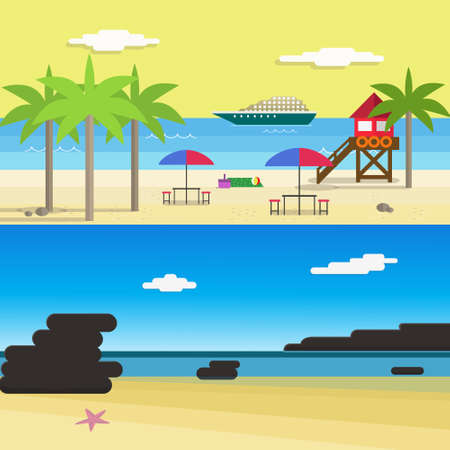 vocation: Scene of Summer Beach For Vocation with ship, lifeguard tower, Palm Trees and Coral.Flat Style Vector Illustration. Illustration