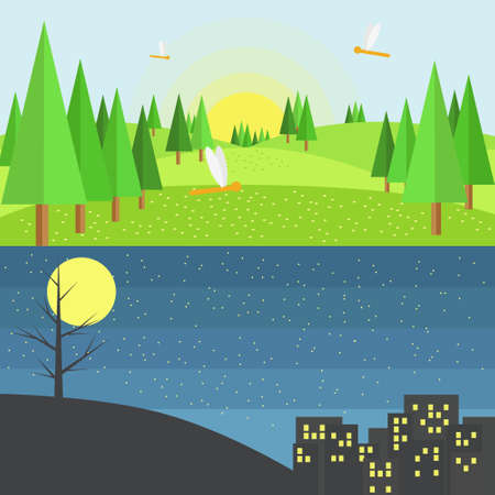 shilouette: Green Hills with Dragonflies and Pine Tree  in Day and Hill and Dark City In Night .Flat Style Vector Design.