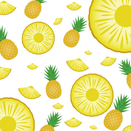 Pineapple with White Background for Wallpaper and Template. Vector Illustration.