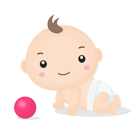 Cute Cartoon Baby Boy Crawling Vector Illustration. Illustration
