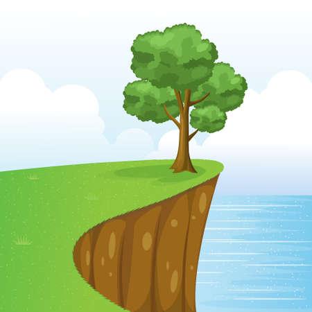 Boom op Cliff Scenery met gras, zee, lucht en Clouds.Vector Illustratie.