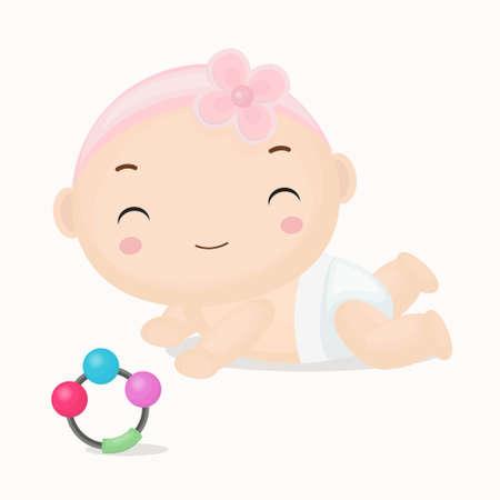 cintillos: Linda niña de dibujos animados con las vendas color de rosa Cartoon.Vector Ilustración. Vectores