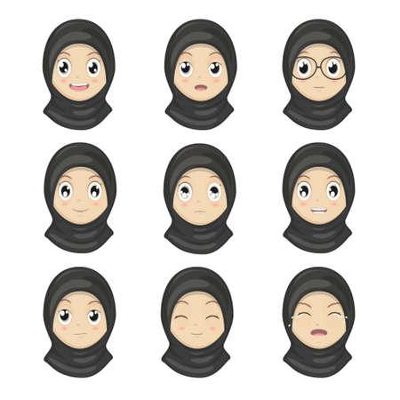 emotion expression: Muslim Girl Emotion Faces Cartoon.Women Expression Faces.Vector Illustration.