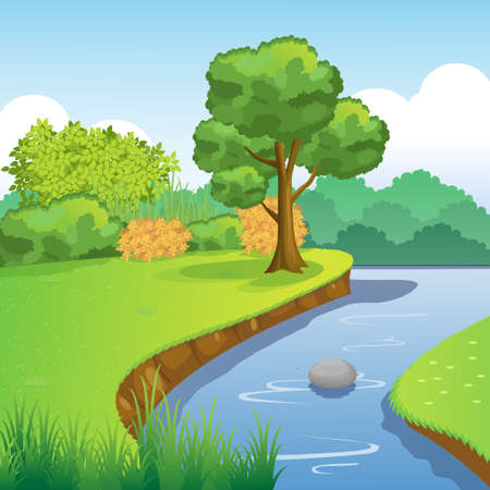 Blue River and Forest Scenery with Tree, Bush, Grass, Sky and Clouds.Vector Illustration. Illustration