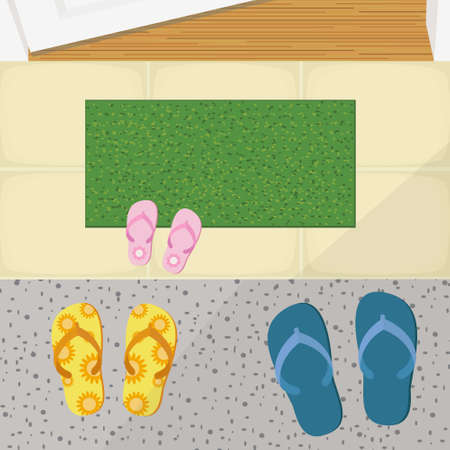 Slippers and Doormat in Front Of Door.Top View Vector Illustration. Illustration