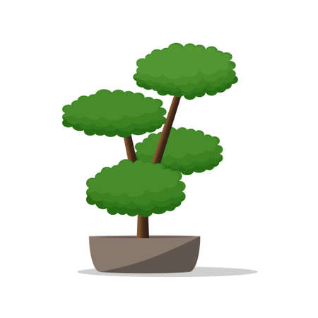 Decorative Plant on Pot.Artistic Flowerpot Vector Illustration.