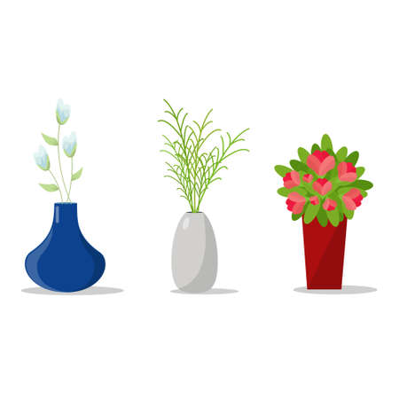 flowerpots: Set Of Flowerpots for House Interior.Decorative Flower And Vases.Vector Illustration Isolated.