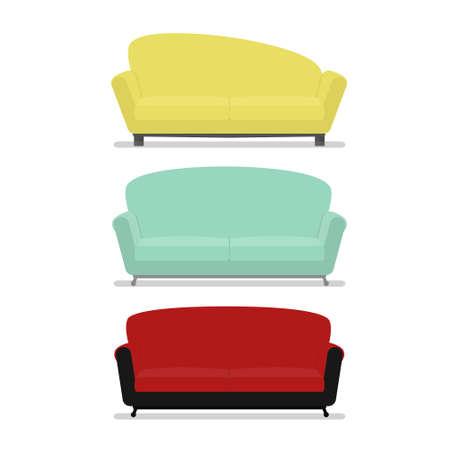 Modern Set of cozy sofa furniture isolated.Flat style vector illustration Illustration
