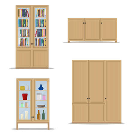 Classic wooden Interior set with isolated cupboard, bookshelf, wardrobe and cabinet.Flat style vector illustration