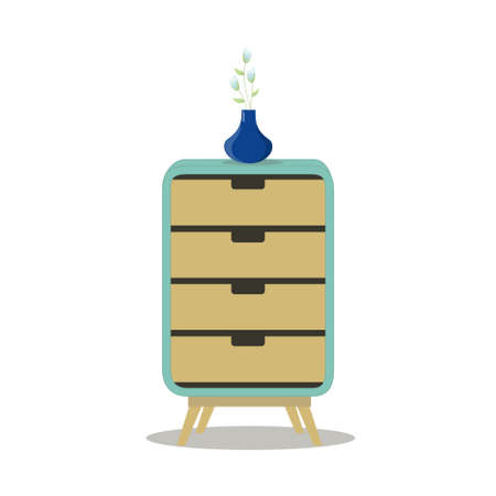 chest of drawers: Modern Drawer Organizer Cabinet.Home Furniture.Flat Vector Illustration.