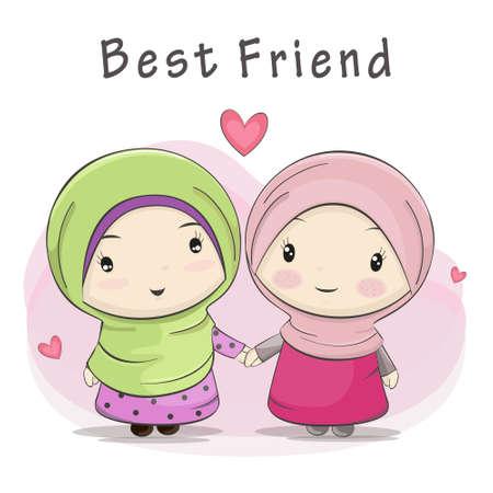 bestfriend: Cute Cartoon of Two Muslim Girl Best Friend.Vector Illustration.