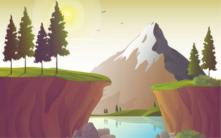 River landscape with mountain and cliff, vector illustration