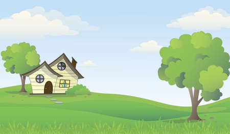 Wooden house on green hill view with blue sky background, vector illustration. Illustration