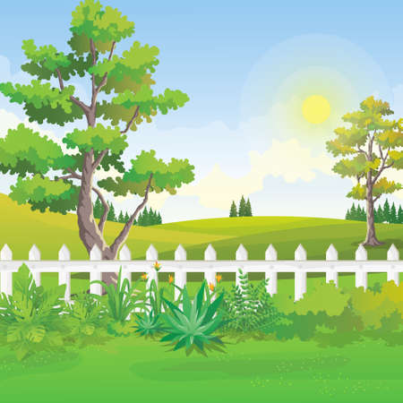 Splendido scenario del giardino sul retro con verdi colline e luce solare nel cielo blu. Vista di illustrazione vettoriale giardino naturale. Vettoriali