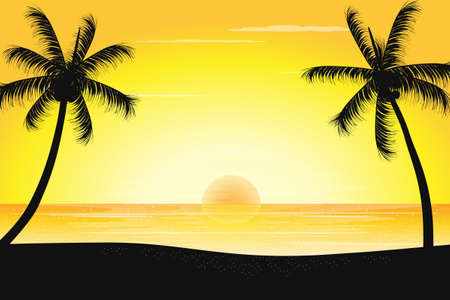Tranquil sunset scenery with palm trees silhouette on the beach, vector illustration.