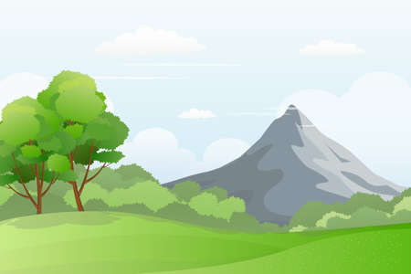 Green meadow scenery with mountain on the background. Illustration