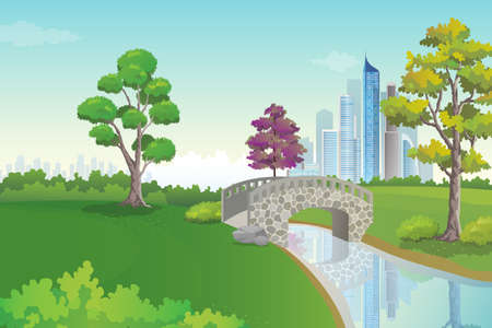 Scenery of beautiful park with skyscrapers view on background, city park vector illustration. Illustration
