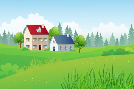 Country houses on the middle of green meadow with pines forest and cloudy sky on background, countryside scenery vector landscape.