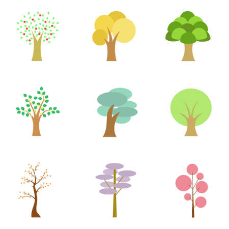 Nature Elements ,Trees and Bushes in Flat Style Design Illustration.