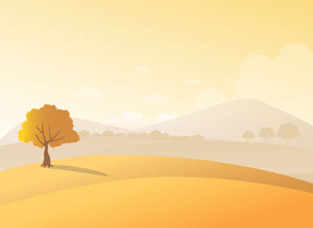 Autumn scenery of a tree on hill with foggy mountain and cloudy sky on background, vector illustration.