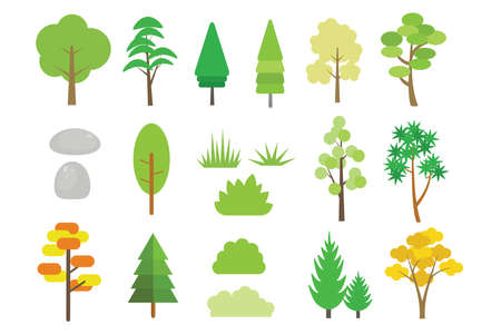 Natural isolated elements set, trees, bushes, rocks, and pines vector illustration. Illustration