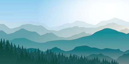 Tranquil mountain range scenery landscape with pines forest, foggy morning vector illustration. Ilustración de vector