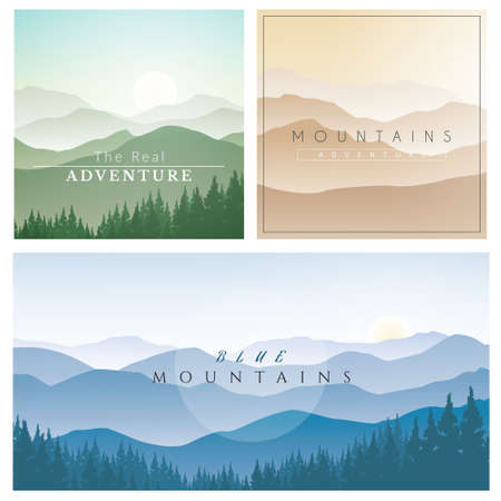 Set of mountains scenery landscape with pines forest, natural vector illustration.