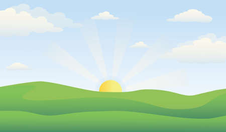 Green hills scenery with cloudy sky and sunrise, vector illustration.