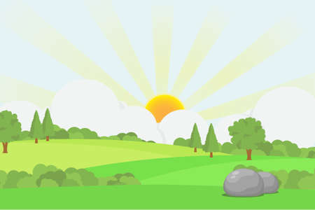 Green hills scenery with sunrise behind the clouds, early morning meadow landscape vector illustration.