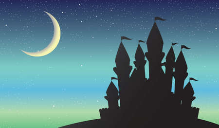 Castle on the night scenery with crescent moon on the sky, vector illustration.