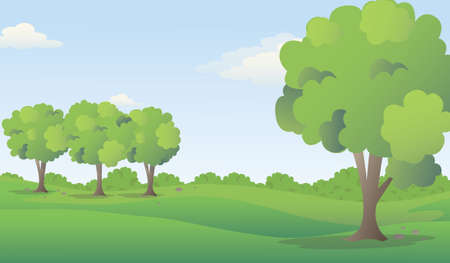 Green meadow with trees in summer landscape, vector illustration.