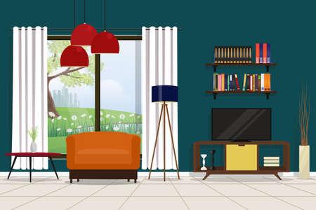 Moder livingroom interior decoration, vector illustration.