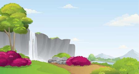 Waterfall and mountains landscape, vector illustration. Stock Illustratie