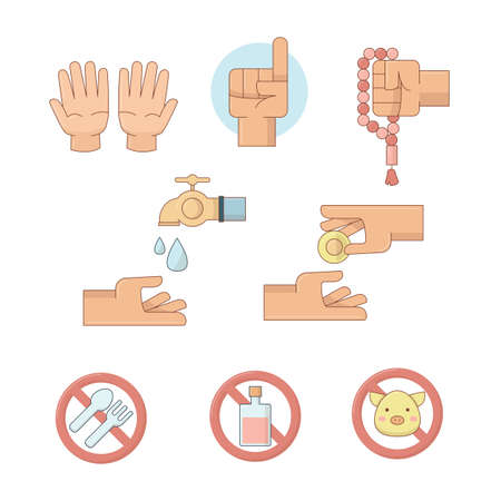 Islamic icons, hand icons and prohibition icons, vector illustration. Illustration